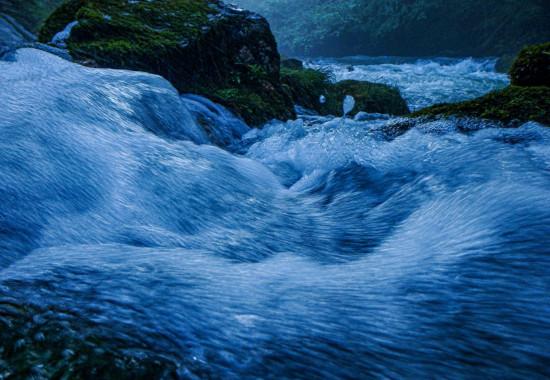 至近距離で見る水の流れ